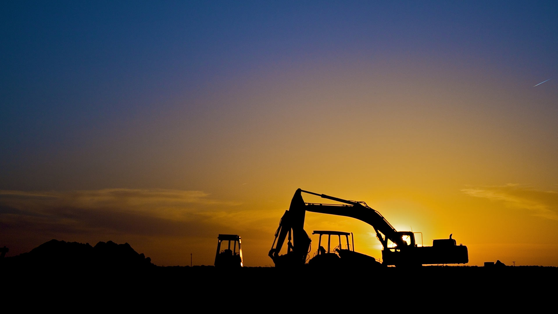 Oil rigs at night